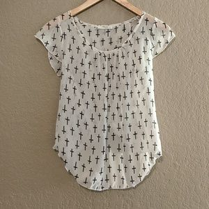 Poetry white blouse with black cross design